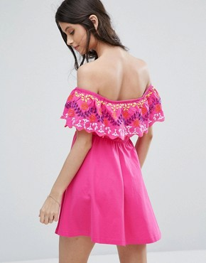 photo Off Shoulder Sundress in Broderie by ASOS PETITE, color Bright Pink - Image 2