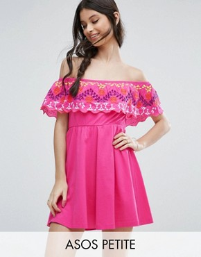 photo Off Shoulder Sundress in Broderie by ASOS PETITE, color Bright Pink - Image 1