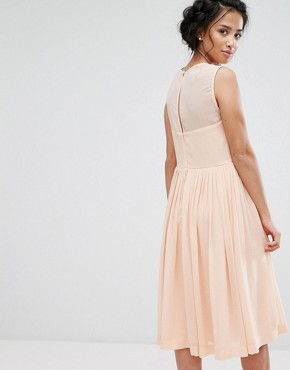 photo Midi Dress with Ruched Panel Detail by ASOS PETITE PREMIUM, color Nude - Image 2