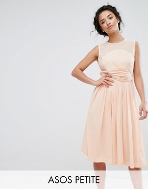 photo Midi Dress with Ruched Panel Detail by ASOS PETITE PREMIUM, color Nude - Image 1