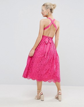 photo Lace Halter Pinny Midi Prom Dress by ASOS PETITE SALON, color Hot Pink - Image 2
