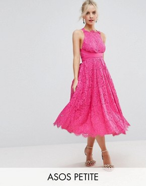 photo Lace Halter Pinny Midi Prom Dress by ASOS PETITE SALON, color Hot Pink - Image 1