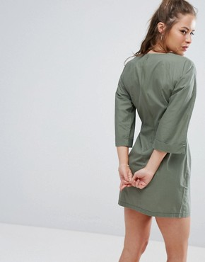 photo Casual Tie Waist Mini Dress by ASOS PETITE, color Khaki - Image 2