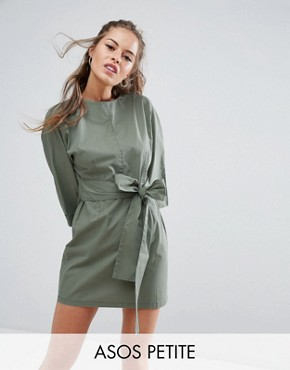 photo Casual Tie Waist Mini Dress by ASOS PETITE, color Khaki - Image 1