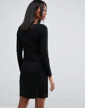 photo Knot Front Jersey Dress by Noppies Maternity, color Black - Image 2