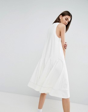 photo A-Line Midi Dress with Contrast Stitch V-Neck by ASOS WHITE, color White - Image 2