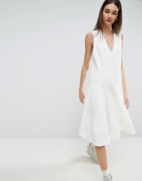 photo A-Line Midi Dress with Contrast Stitch V-Neck by ASOS WHITE, color White - Image 1