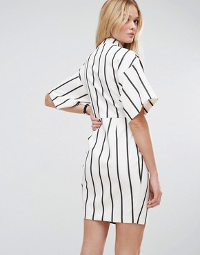 photo Wrap Dress with Choker Detail in Stripe by ASOS, color Multi - Image 2