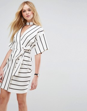 photo Wrap Dress with Choker Detail in Stripe by ASOS, color Multi - Image 1