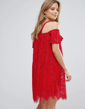 photo Cold Shoulder Lace Shift Dress by Missguided, color Red - Image 2