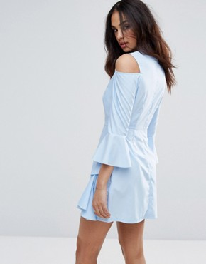 photo Cold Shoulder Frill Sleeve Dress by Missguided, color Blue - Image 2