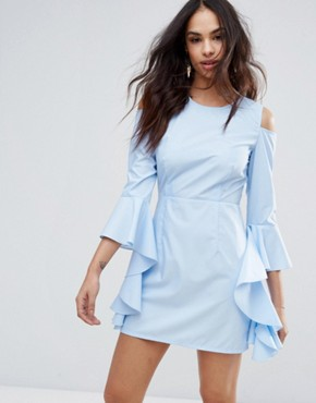 photo Cold Shoulder Frill Sleeve Dress by Missguided, color Blue - Image 1