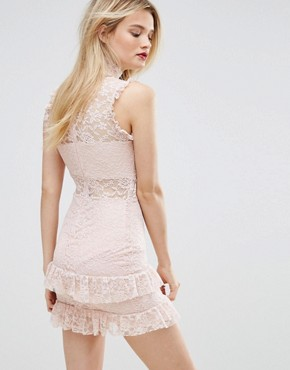 photo High Neck Ruffle and Lace Bodycon Dress by Missguided, color Pink - Image 2
