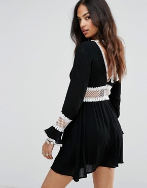 photo Crochet Insert Swing Dress by Missguided, color Black - Image 2