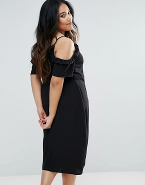 photo Frill Wrap Midi Dress by New Look Plus, color Black - Image 2