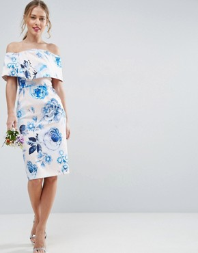 photo Pink Base Floral Structured Midi Pencil Dress by ASOS WEDDING, color Multi - Image 1