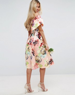 photo Print Structured Prom Midi Dress by ASOS WEDDING, color Multi - Image 2