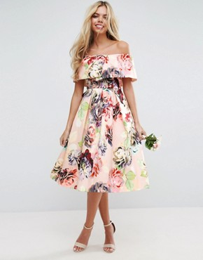 photo Print Structured Prom Midi Dress by ASOS WEDDING, color Multi - Image 1