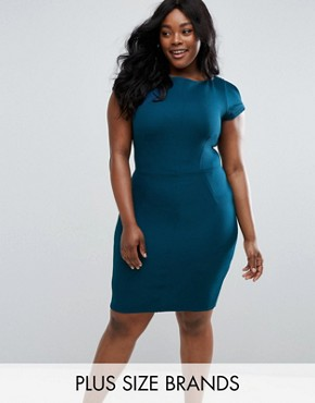 photo Pencil Dress by Closet London Plus, color Teal - Image 1
