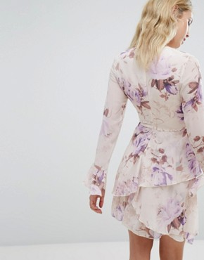 photo Corset Detail Floral Swing Dress by Missguided, color Purple - Image 2