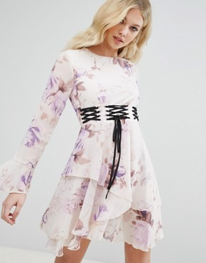 photo Corset Detail Floral Swing Dress by Missguided, color Purple - Image 1