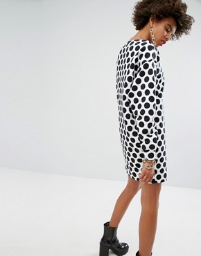 photo Dotty Print Sweat Dress by Love Moschino, color White - Image 2