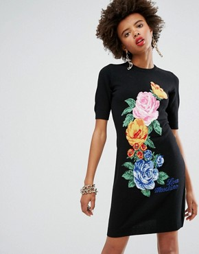 photo Floral Cashmere Wool Mix Knit Dress by Love Moschino, color Black - Image 1