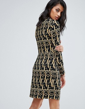photo Ornate Printed Long Sleeved Dress by Love Moschino, color Black - Image 2