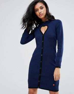 photo Cyberlove Cashmere Wool Mix Knit Dress by Love Moschino, color Blue - Image 1