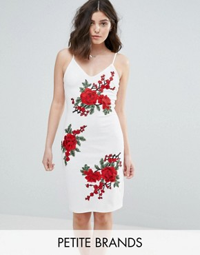 photo Cami Dress with Rose Embroidery by Parisian Petite, color White - Image 1