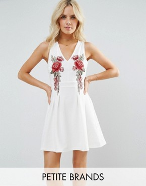 photo Skater Dress with Rose Embroidery by Parisian Petite, color White - Image 1
