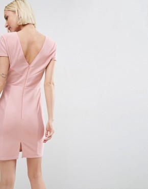 photo Seamed Structured Rib Mini Bodycon Dress with V-Neck by ASOS, color Nude - Image 2