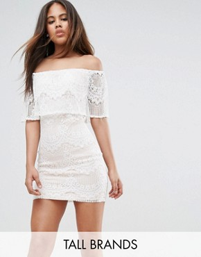 photo Bandeau Lace Dress with Frill by Parisian Tall, color White - Image 1