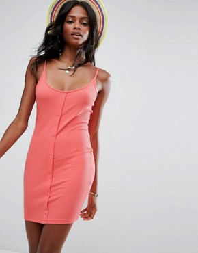 photo Mini Bodycon Dress with Popper Details by ASOS, color Coral Red - Image 1