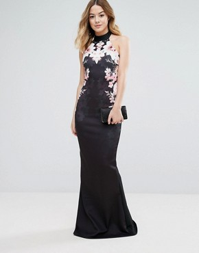 photo Fishtail Maxi Dress with Floral Placement by Jessica Wright, color Multi - Image 1