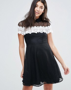 photo Monochrome Lace Skater Dress by Jessica Wright, color Black - Image 1
