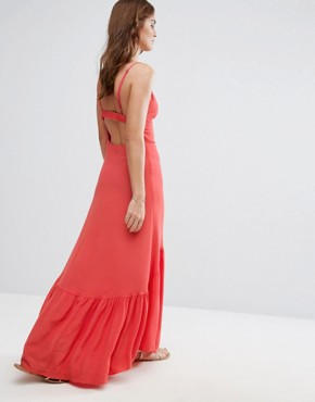 photo Button Up Midi Dress by Flynn Skye, color Coral - Image 2