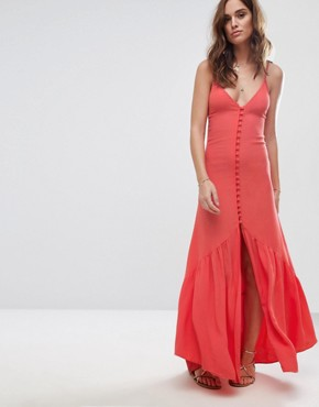 photo Button Up Midi Dress by Flynn Skye, color Coral - Image 1