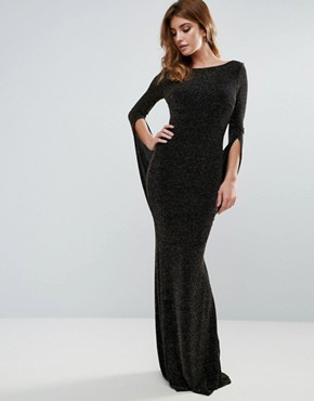 photo Long Sleeve Maxi Dress with Drape Detail and Open Back by City Goddess, color Black - Image 2