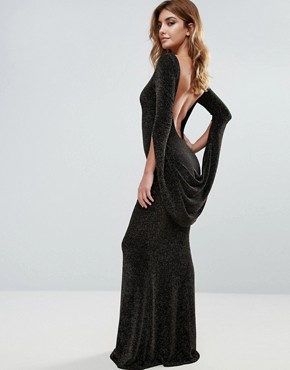 photo Long Sleeve Maxi Dress with Drape Detail and Open Back by City Goddess, color Black - Image 1