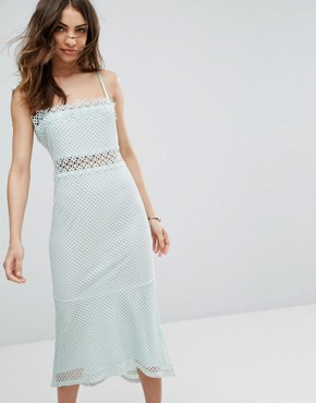 photo Lace Cutwork Detail Fishtail Midi Dress by Vero Moda, color Skylight - Image 1