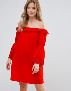 photo Bardot Dress with Fluted Sleeve by Vero Moda, color Fiery Red - Image 1