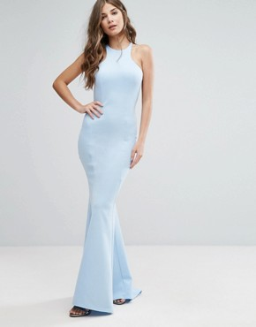 photo Maxi Dress with Bow Detail and Exposed Back by City Goddess, color Sky Blue - Image 2