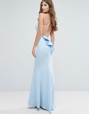 photo Maxi Dress with Bow Detail and Exposed Back by City Goddess, color Sky Blue - Image 1