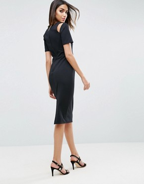 photo Midi Pencil Dress with Cut Out Shoulders by ASOS, color Black - Image 2