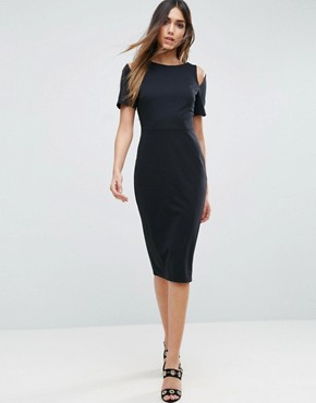 photo Midi Pencil Dress with Cut Out Shoulders by ASOS, color Black - Image 1