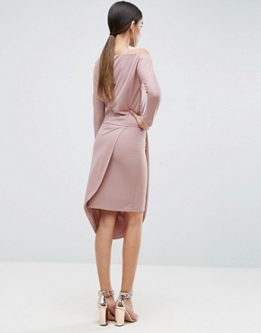 photo One Shoulder Midi Bodycon Dress with Drape Front by ASOS, color Nude - Image 2