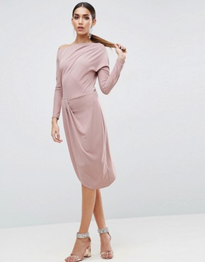 photo One Shoulder Midi Bodycon Dress with Drape Front by ASOS, color Nude - Image 1