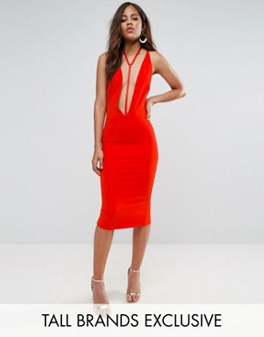 photo Plunge Front Bodycon Dress with Harness Detail by NaaNaa Tall, color Orange - Image 1
