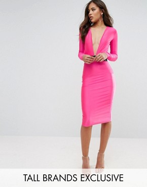 photo Plunge Front Midi Bodycon Dress with Belt Detail by NaaNaa Tall, color Pink - Image 1